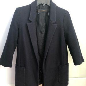 Zara Navy boyfriend blazer 3/4 length sleeve Xs